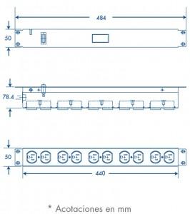 medidas barra de 10 contactos horizontal