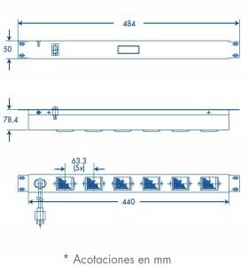 medidas barra de 6 contactos horizontal