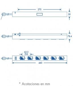 medidas barra de 6 contactos universal