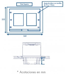 medidas caja de piso 2 m
