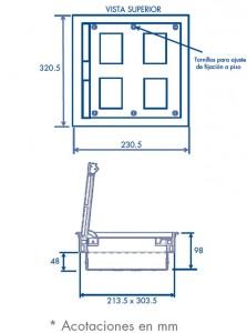 medidas caja de piso 4 m