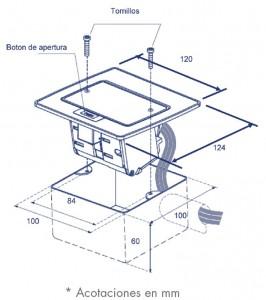 medidas mini caja de piso contactos rec