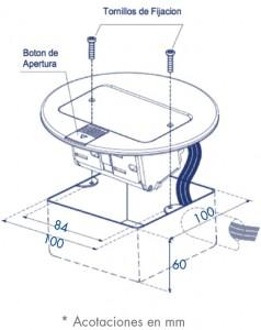 medidas mini caja de piso redonda contactos