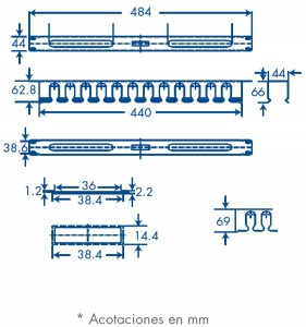 medidas organizador de cables 1U con tapa de PVC