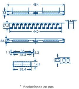 medidas organizador de cables 1U con tapa metálica