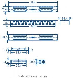 medidas organizador de cables 2U tapa metalica