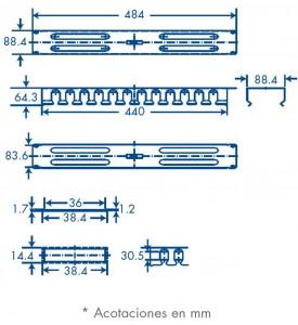 medidas organizador de cables 2U tapa pvc