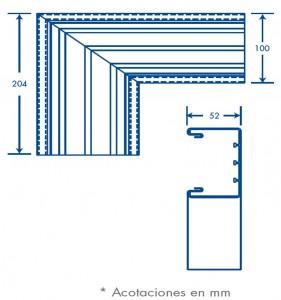 medidas seccion L tek 100