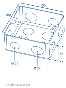 caja de registro 10x10 dimensiones