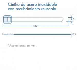 dimensiones cincho acero reusable
